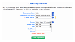 Create organisation